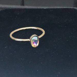 Small Aurora Borealis Crystal Oval Ring (7)